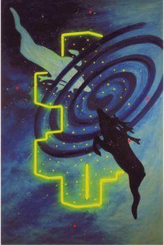 Constellation with Southern Cross. Lichtobject van Woody van Amen. Olieverf op doek, neon en led's. 1999-2000