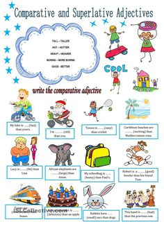 This is a revision of comparative (firs page) and superlative adjectives (second page). There are exercises to practise them. Learn English Speaking, English Fun, English Lessons, Teaching English, English Language, English Teachers, Adjectives Activities, Grammar Activities, English Activities
