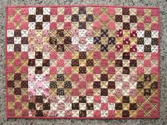 Pink and Brown Nine-Patch Mini Quilt by Imporium on Etsy--one of my own little quilts in reproduction fabrics. Pink Quilts, Crib Quilts, Nine Patch Quilt, Fat Quarter Quilt, Civil War Quilts, Miniature Quilts, Jellyroll Quilts, Doll Quilt, Antique Quilts