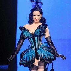 Dita von Tease in a butterfly corset