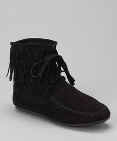Another great find on #zulily! Black Katherine Fringe Ankle Boot by Link #zulilyfinds I was going for Minnetonka, but these will do!