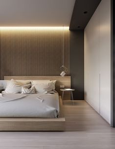 Cool 8 Awesome Minimalist Bedroom Design Ideas You Have To Copy The bedroom as the most important resting place. But, what if you have a narrow bedroom design? Thinking about the area for storage, maximizing the fu. Modern Minimalist Bedroom, Modern Master Bedroom, Modern Bedroom Decor, Master Bedroom Design, Contemporary Bedroom, Home Bedroom, Minimalist Wardrobe, Bedroom Ideas, Narrow Bedroom