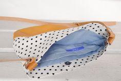 Kleine Tasche mit Leder | Pünktchen | Small bag | Leather | Dots | Black and white | june-shop