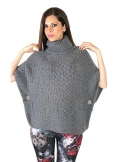 Poncho in lana color grigio