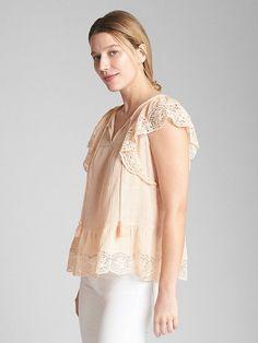 Short Sleeve Flutter Crochet Smock Top