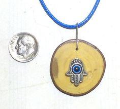 Hamsa Kabbalah Necklace Pendant Evil Eye Charm by JudaicaBennysArt