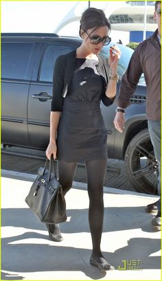 Victoria Beckham in black dress and cardigan David And Victoria Beckham, Victoria Beckham Style, Celebrity Fashion Looks, Celebrity Style, Autumn Fashion, Cute Outfits, My Style, Womens Fashion, Casual