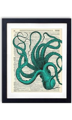 Blue Octopus Upcycled Vintage Dictionary Art Print 8x10 Best Price