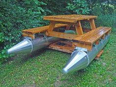 picnic table/pontoon boat fishing in style. Buy A Boat, Diy Boat, Floating Picnic Table, Party Barge, Boat Stuff, Water Toys, Boat Plans, Wooden Boats, Boat Building