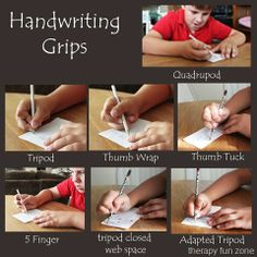 Types of handwriting grips. FYI: Love this OT Pediatric Occupational Therapy Site. It's easy to use with good pics. Types Of Handwriting, Teaching Handwriting, Handwriting Activities, Improve Handwriting, Handwriting Ideas, Handwriting Practice, Pediatric Occupational Therapy, Pediatric Ot, Therapy Activities