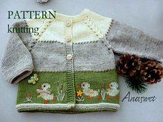 Baby cardigan with Crochet , Knitting pattern baby cardigan.Baby cardigan with Knitting pattern baby cardigan.Baby cardigan with Babystrickanleitunge. Baby Knitting Patterns, Knitting For Kids, Baby Patterns, Hand Knitting, Crocheting Patterns, Clothes Patterns, Knitting Ideas, Embroidery Stem Stitch, Silk Ribbon Embroidery