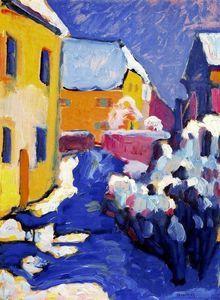 Wassily Kandinsky - Cementerio y casa parroquial en Kochel