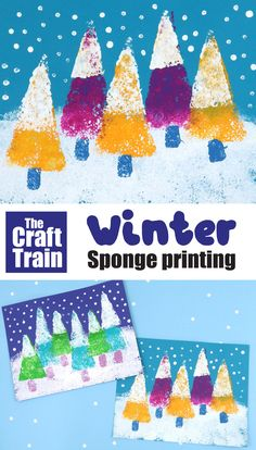 Easy sponge printing art activity for kids – create a snowy winter landscape! #winterart #kidsact #winterlandscape #snow #spongeprinting #kidsactivities #printing