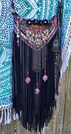 Handmade Black Leather Shoulder Bag Wearable Art* Fringe Boho Gypsy Purse B.Joy   Clothing, Shoes & Accessories, Women's Handbags & Bags, Handbags & Purses   eBay!