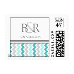 Top 24 trending monogram teal chevrons Postage Stamp designs: Grey Teal Chevron Monogram Wedding Stamps - click/tap to see the slideshow for related designs