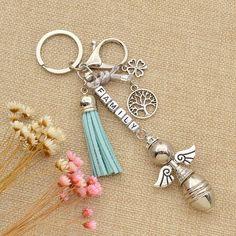 Amazon.com: Christening Favor Lucky Angel Keychain FAMILY Life Tree Tassel…