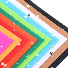Star Pattern Polyester Felt Fabric Mix Colors Fabrics For Patchwork DIY Craft Sewing Home Decoration 10Pcs/lot 15CM*15CM J-10S4