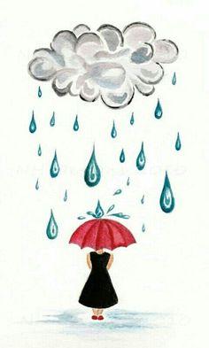 Paraguas ??? Umbrella Art, Under My Umbrella, Art Et Illustration, Illustrations, I Love Rain, Rain Art, Rain Drops, Rainy Days, Collage Art