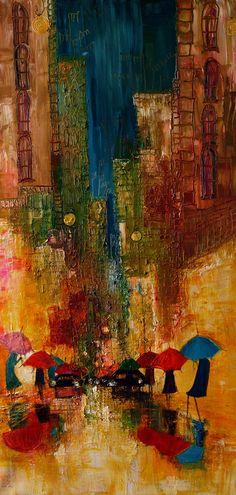 "Saatchi Online Artist: Justyna Kopania; Oil, 2013, Painting ""Rain...-street..."""