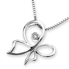 Diviner Series 18K White Gold Diamond Pendant Sterling Silver Butterfly Necklace #Unbranded #Pendant