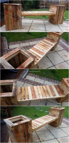 The garden is equally important to adorn as the other areas of the home so here we have presented an idea which not only eliminates the need of placing planters; but also fulfills the seating need. This repurposed wood pallet bench with attached planters Wooden Pallet Projects, Wooden Pallet Furniture, Pallet Crafts, Wooden Pallets, Pallet Ideas, Pallet Wood, Pallet Benches, Outdoor Pallet, Pallet Planters