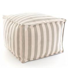 Fresh American Trimaran Stripe Platinum and Ivory Indoor/Outdoor Pouf @LaylaGrayce