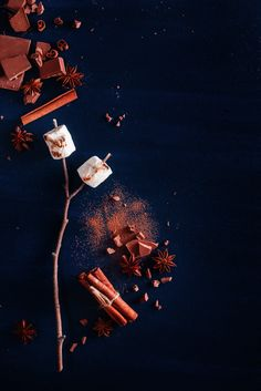 Dark food still life with roasted marshmallows, cocoa powder, chocolate and cinnamon on a black background with copy space