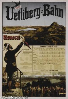 1897 The Uetliberg-Bahn line from Bahnhof Selnau in Zurich to the summit of the Uetliberg mountain,Switzerland vintage timetable travel poster Zurich, Swiss Railways, S Bahn, Retro Poster, Train Service, Railway Posters, Vintage Travel Posters, Public Transport, Vintage Art