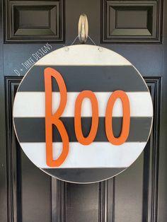 Wooden Fall Decor, Fall Wooden Door Hangers, Wooden Door Signs, Halloween Door Hangers, Wooden Doors, Halloween Door Decorations, Halloween Wood Signs, Boo Door Hanger, Black White Halloween