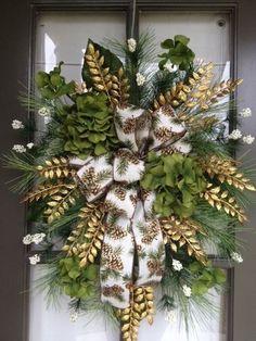 Christmas Winter Holiday, Green Floral arrangement Door Wreath/Swag