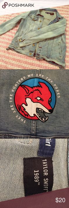 Taylor Swift Foxes Denim Jacket Official Taylor Swift merch. Never worn. I got this as a Christmas present, but it's too tight in the shoulders. Size is a kid's large (fits like an adult medium). Taylor Swift Jackets & Coats Jean Jackets