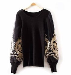 Golden Embroidery Pullover