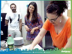 Aurélio, Andrea e Rose juntos para comemorar os aniversariantes do mês.