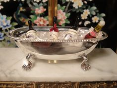 Silversmith Enrique Quntanar's Champagne Bathtub Cooler Stamped Sterling silver