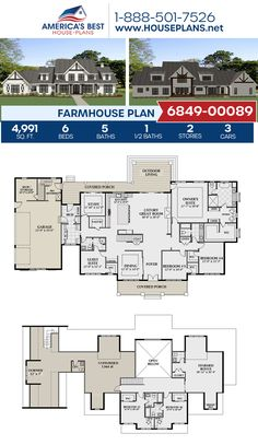 A spacious 2-story Farmhouse, Plan 6849-00089 features 4,991 sq. ft., 6 bedrooms, 5.5 bathrooms, a guest room, an open floor plan, a bonus room, a mudroom, and a study. #farmhouse #openfloorplan #architecture #houseplans #housedesign #homedesign #homedesigns #architecturalplans #newconstruction #floorplans #dreamhome #dreamhouseplans #abhouseplans #besthouseplans #newhome #newhouse #homesweethome #buildingahome #buildahome #residentialplans #residentialhome Floor Plans 2 Story, House Plans 2 Story, Family House Plans, Country Style House Plans, Craftsman Style House Plans, Best House Plans, Dream House Plans, Modern House Plans, Story House