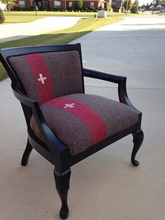 Swiss Army Blanket Chair. Pictures only, other upcycled furniture including VW chest of drawers,chairs recovered in potato sacks and bureaus/sideboards with metal, industrial wheels added.