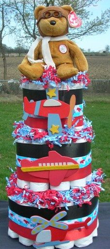 Boy Diaper Cake AIRPLANES Baby Shower Centerpiece by BabyCakesMN