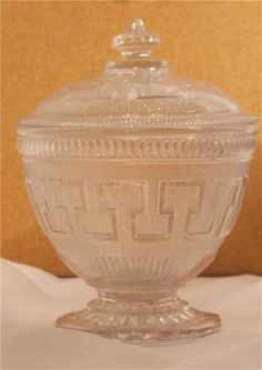 Art Deco glass lidded bowl. Geometric pattern. £25. @ http://maxartdeco.binary-synergy.com/