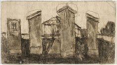 James Castle  Gabled house or shed split vertically into four segments  n.d.  Philadelphia Museum of Art