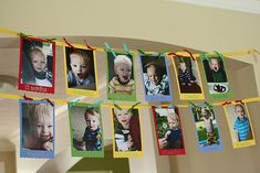Month-to-Month birthday picture banner idea. Mouse Parties, Grad Parties, First Birthday Parties, 2nd Birthday, First Birthdays, Birthday Ideas, Monthly Pictures, Baby Pictures, Picture Banner
