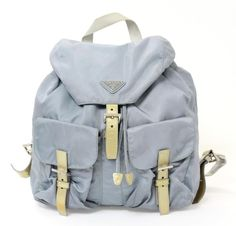 Prada Blue Nylon & Gold Patent Leather Backpack #PRADA #BackpackStyle