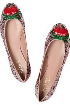 RED Valentino|Cherry-appliqué glitter-finish ballet flats