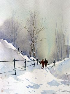 Watercolour-Acuarela-Corneliu-Dragan-Targoviste-peisaj-rural-14
