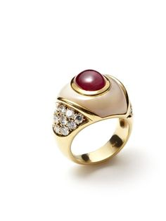 Oval Ruby & Mother Of Pearl Ring