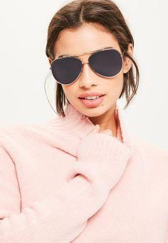 Missguided - Gold Flat Lenses Sunglasses