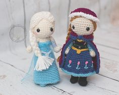 Frozen inspired Anna and Elsa crocheted by TheLittleWildlings