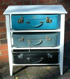 """What a great idea for my """"off season"""" clothes! Vintage Suitcase Chest of Drawers Frame Colour by EnglishRegalia Repurposed Items, Repurposed Furniture, Vintage Furniture, Painted Furniture, Upcycled Vintage, Furniture Projects, Furniture Makeover, Diy Furniture, Vintage Suitcases"""