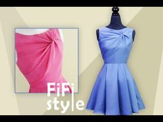 FiFi Style : Draping - Shirt twisted without seam, very smart design - YouTube Dress Neck Designs, Blouse Designs, Collar Kurti Design, Diy Clothes Design, Vestidos Retro, Girls Dresses Sewing, Diy Fashion Hacks, Baby Frocks Designs, Fashion Sewing