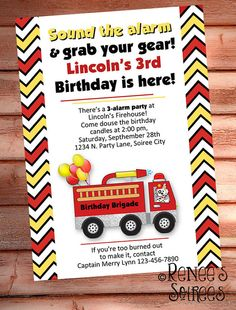 FIRE TRUCK INVITATION - Printable Fireman Birthday Invite - Personalized diy - Photo optional - Baby Shower invitation on Etsy, $10.00