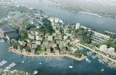Kjellander + Sjöberg Architects - Hästholmssundet, aerial view of the Hästholmssundet and Gäddviken development